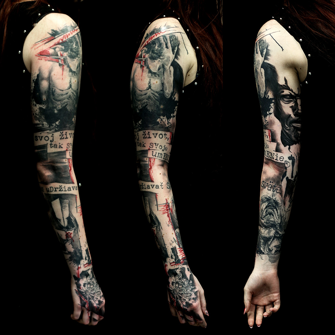 hugo trash polka sleeve tattoo