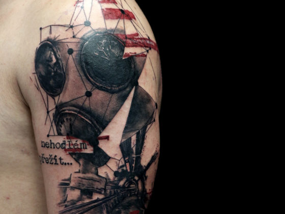 not only survive mask trash polka tattoo